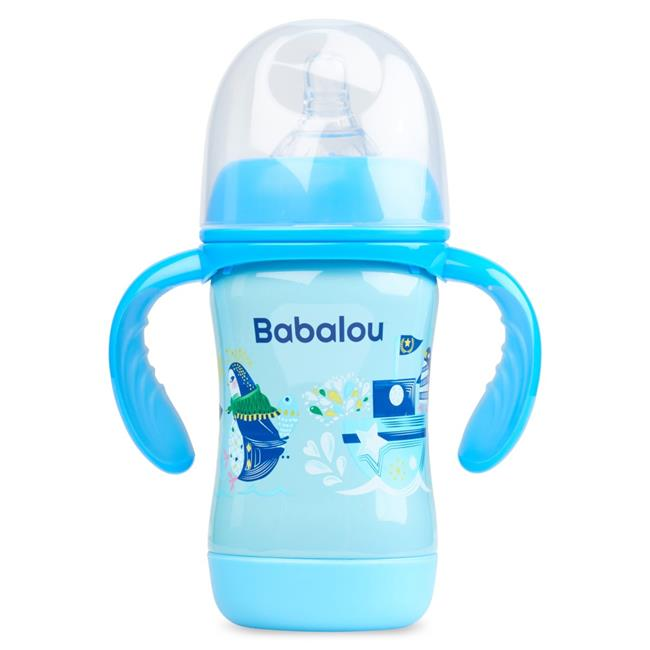 Copia Products BL-180B-BLP 180 ml Babalou Stainless Steel Baby Bottle, Blue Penguin Set