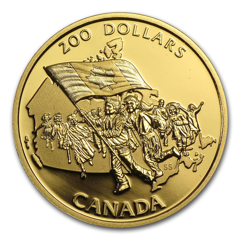 1990 Canada 1 2 oz Proof Gold $200 Canadian Flag
