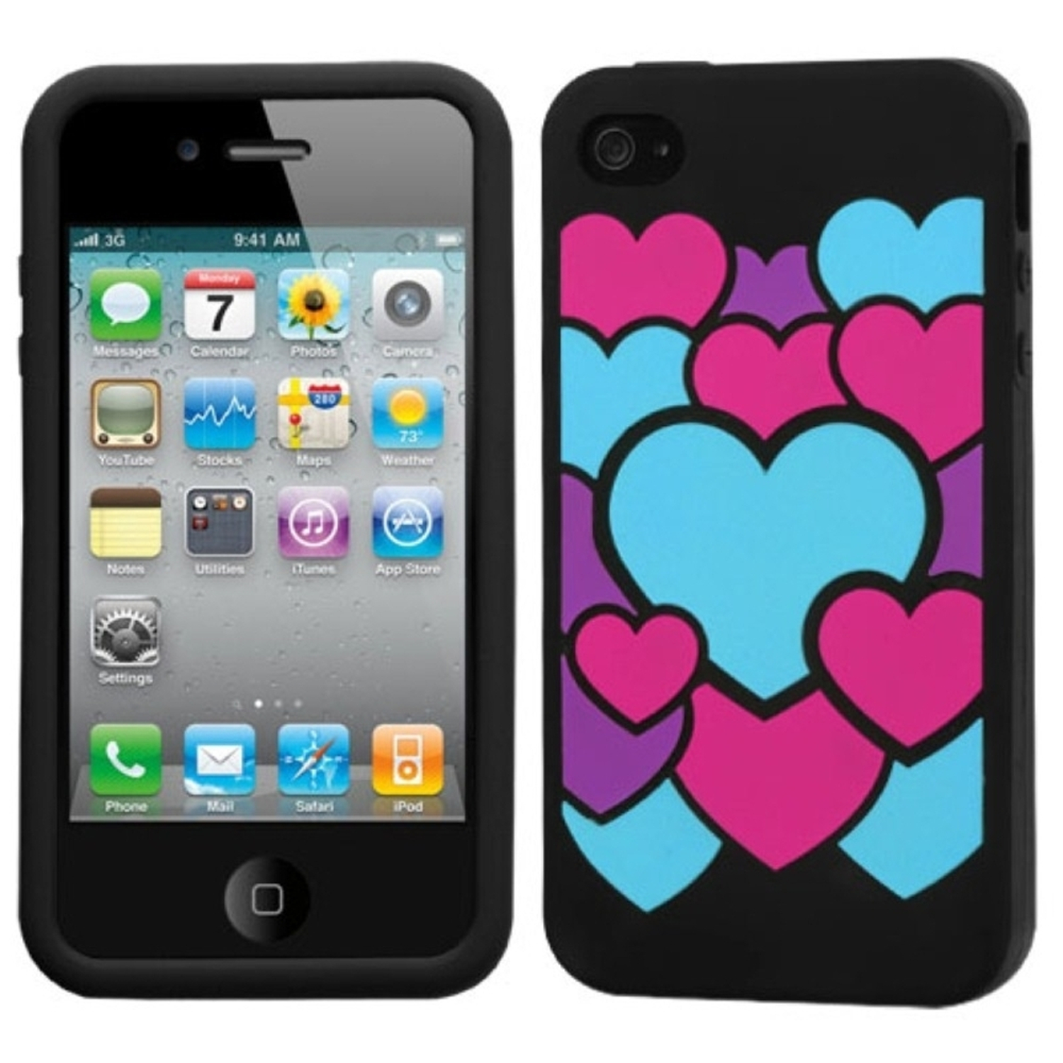 Insten Colorful Love/Black Pastel Skin Case For iPhone 4 4S