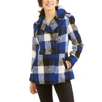 Faded Glory Women's Double-Breasted Faux Wool Peacoat With Hood