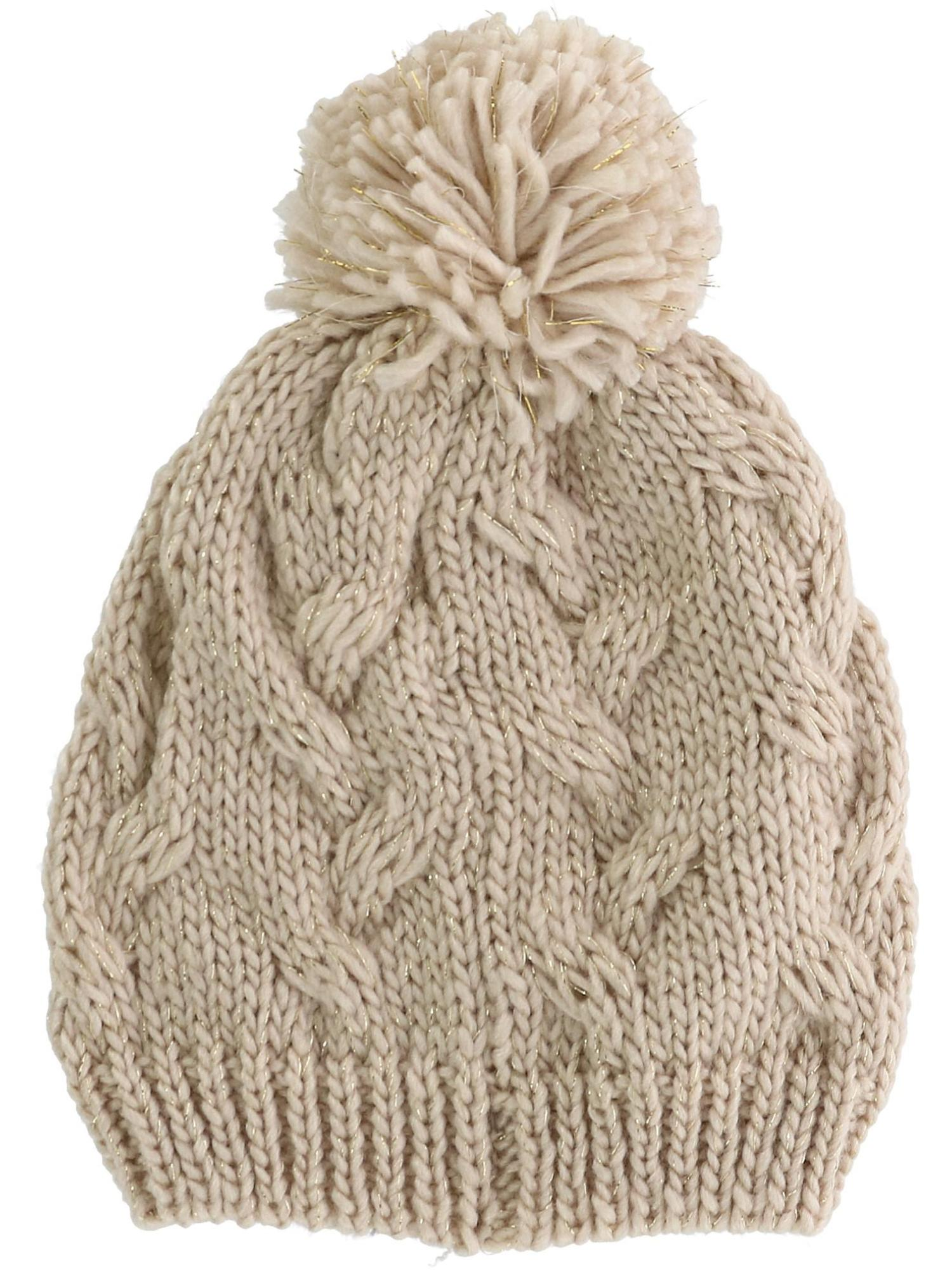 Girls' Cable Knit Winter Hat with Pom