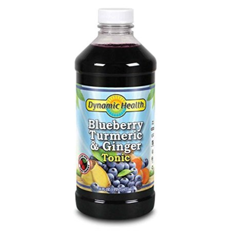 Plant Tonic - Dynamic Health Blue Berry Turmeric and Ginger Tonic Supplement, 16 Ounce