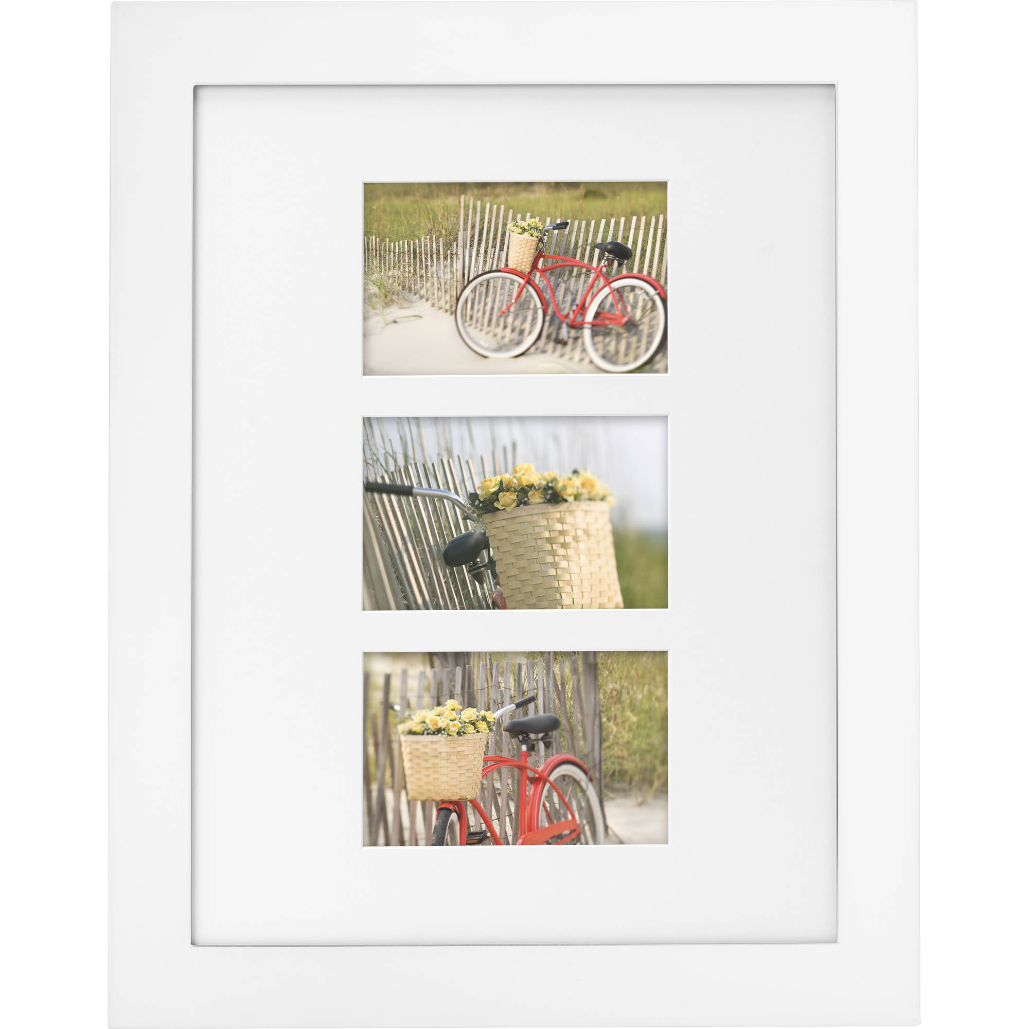 "Mainstays Museum 12"" x 16"" Matted to Three 4"" x 6"" Openings Picture Frame, White"