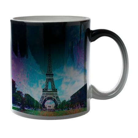 KuzmarK Black Heat Morph Color Changing Coffee Cup Mug 11 Ounce - Eiffel Tower France (Kids Black Morph Suit)