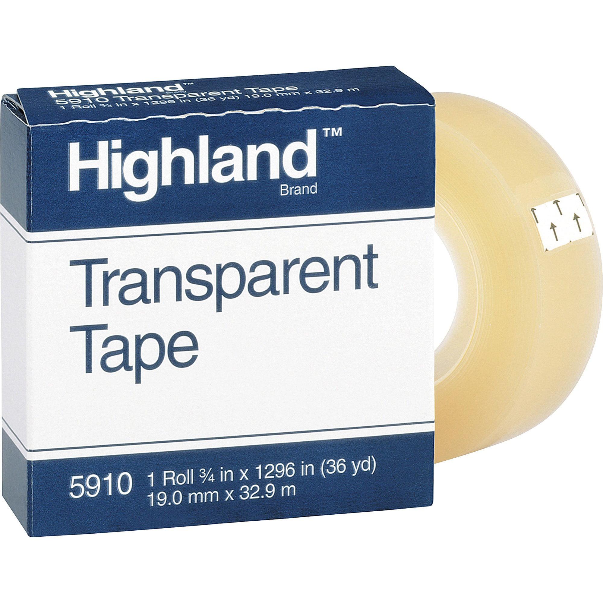 Highland, MMM5910341296, Transparent Light-duty Tape, 1 Roll, Clear