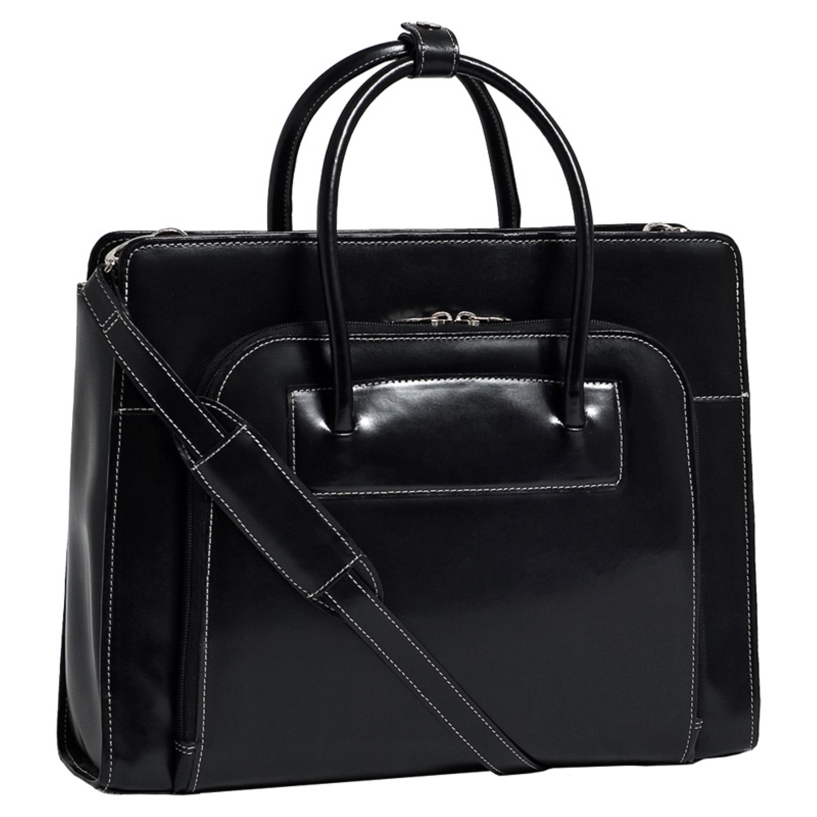 "Mcklein 15.4"" Lake Forest Ladies' Leather Briefcase with Removable Sleeve 94335 - Black"