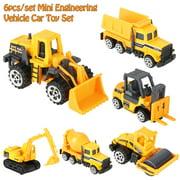 LAFGUR Toy Car, 6pcs/set 1:64 Scale Alloy & Plastic Engineering Car Truck Toy Mini Vehicle Model Kids Gift, Dump Truck Toy