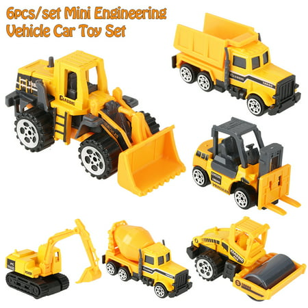 6pcs Play Vehicles Construction Vehicle Truck Cars Toys Set Alloy & Plastic Engineering Car Truck Toy Mini Vehicle Model Kids Gift for Boys and Girls - Toy Clearance