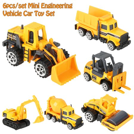 Zerone 6pcs Kids Car Toys 1:64 Scale Alloy & Plastic Engineering Car Truck Toy Mini Vehicle Model Kids Gift for Boys and Girls,Excavator,Pushdozer,Dump Truck,Forklift,Agitating Lorry,Street Roller](Plastic Cars)
