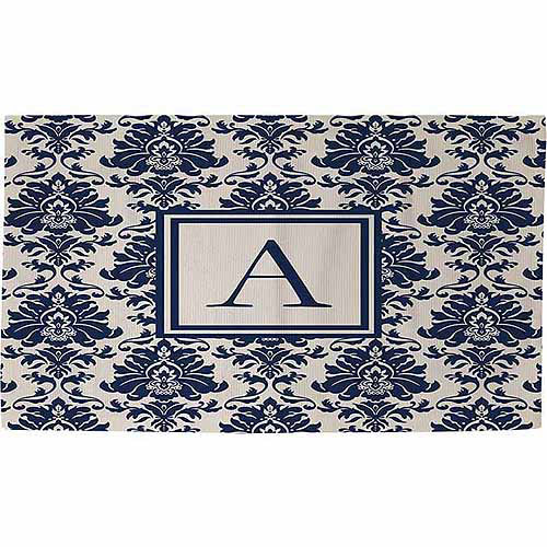 Thumbprintz Damask Monogram Rug, Blue