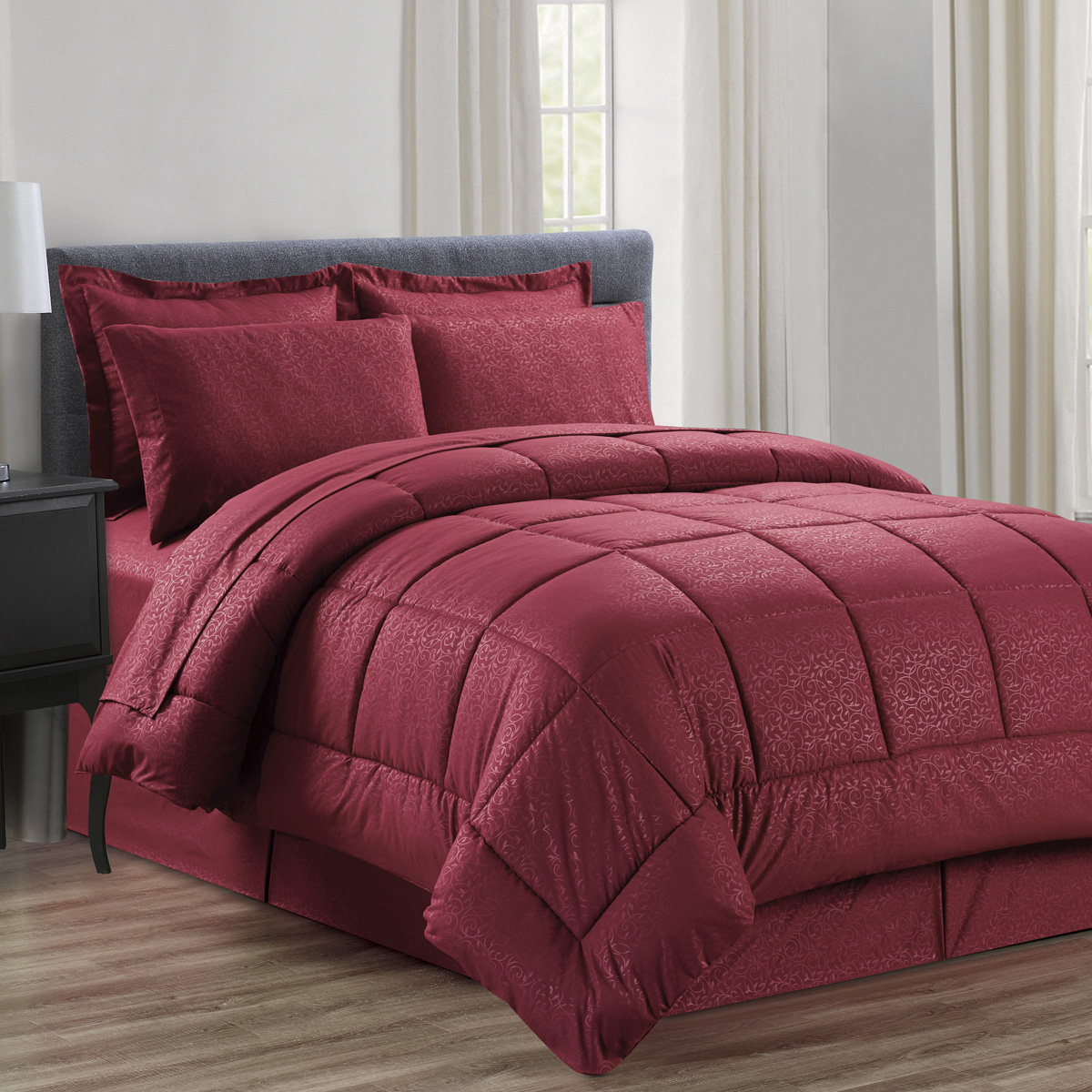 8 Piece Bed In A Bag Vine Embossed Comforter Sheet Bed Skirt Sham Set