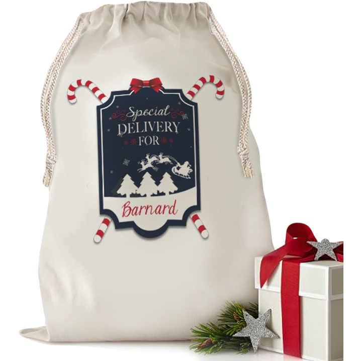 """Custom Gifts Santa's Special Gift Drawstring Sack (Small 13.3"""" x 18.75"""" or Large 19"""" x 27.75"""")"""
