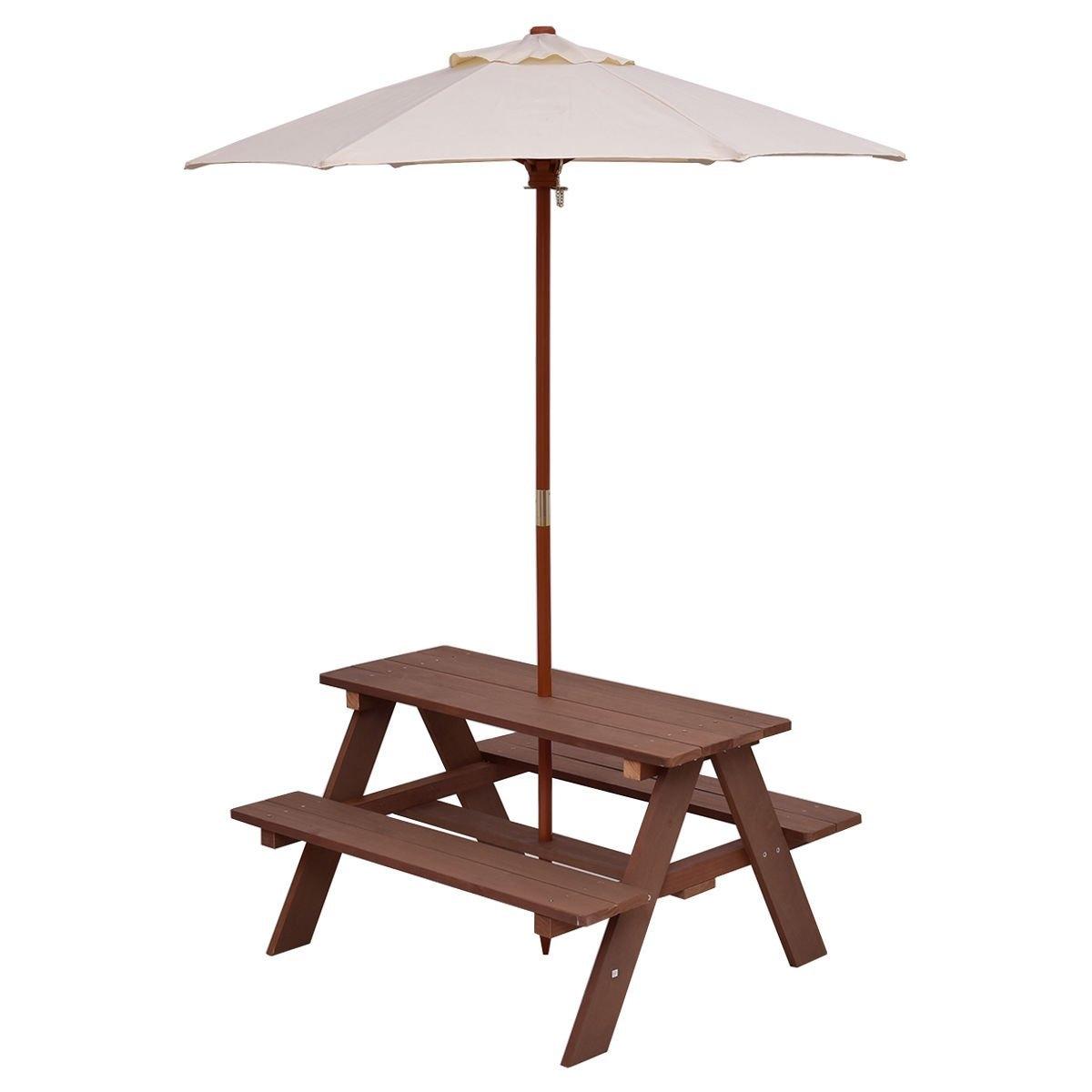 Costzon Kids Picnic Table & Bench Set, 4 Seat w/ Folding ...