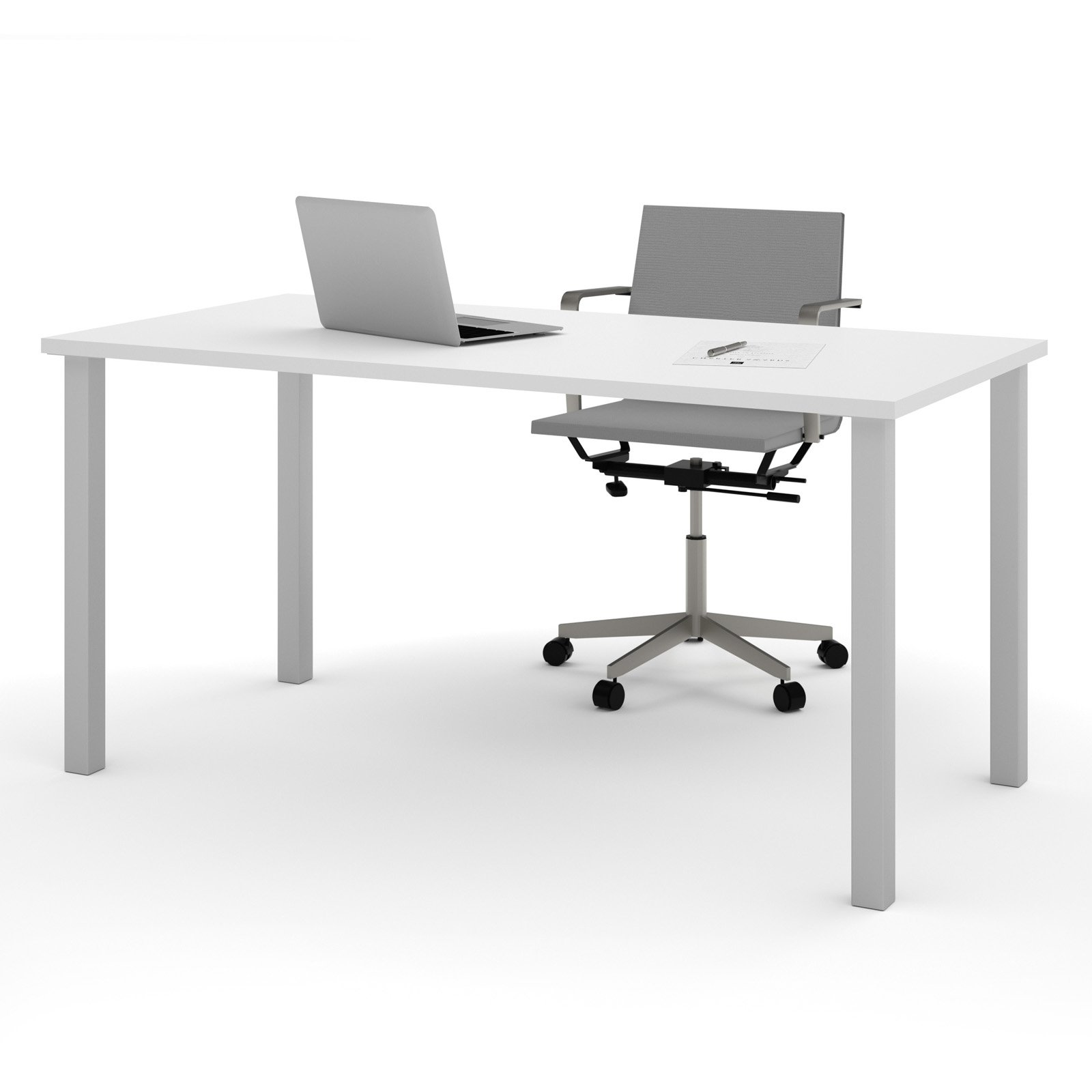 """Bestar 30"""" x 60"""" Table with square metal legs in White by Bestar"""