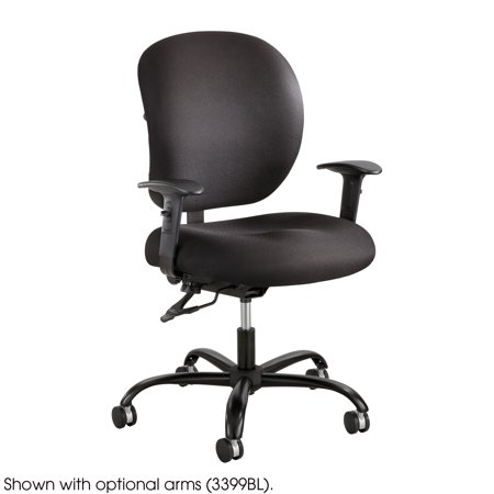 Chair Casters Carpet (3391BL Alday 24/7 Height Adjustment Swivel Big and Tall Task Black Office Chair With T-Pad Arms & Dual Wheel Carpet Casters)
