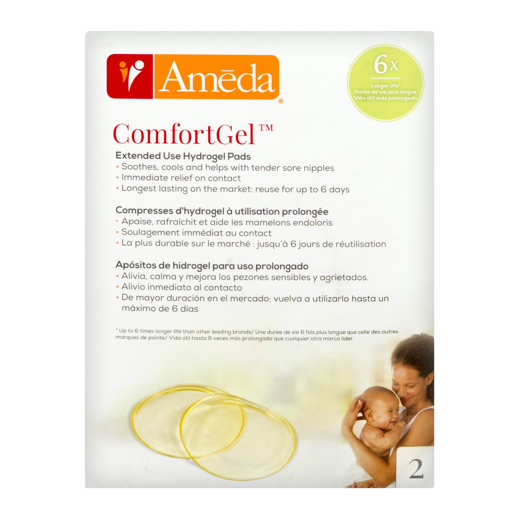 Ameda ComfortGel Extended Use Hydrogel Pads - 2 PK, 2.0 PACK