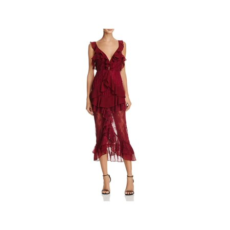 For Love & Lemons Womens Daphne Party Lace Special Occasion Dress Red