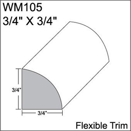Quarter Moulding - Flexible Moulding - Flexible Quarter Round Moulding - WM105 - 3/4 X 3/4 - 8' Straight - Flexible Trim