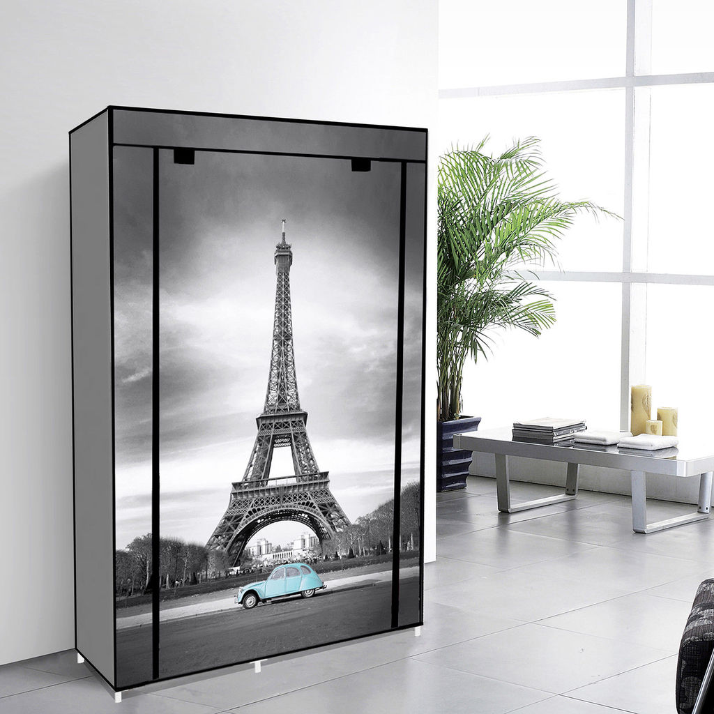 "42"" Portable Clothes closet Non Woven Canvas Wardrobe Storage Orangizer 5 Shelves - Eiffel Tower"