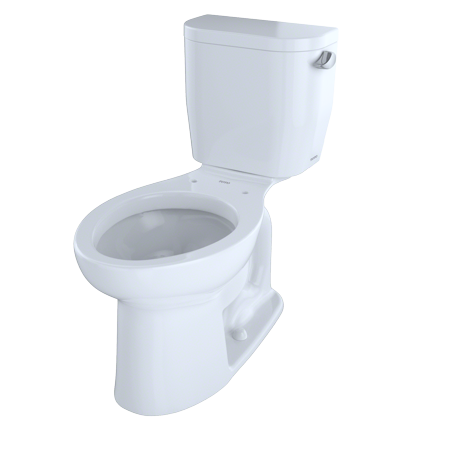 - TOTO® Entrada™ Two-Piece Elongated 1.28 GPF Universal Height Toilet with Right-Hand Trip Lever, Cotton White - CST244EFR#01