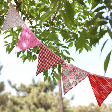 Meigar 95'' Pennant Flags Banner String,Decoration Bunting Banner Garlands Home Decor, Fabrics Wedding Birthday Baby Shower Party Events Ornament - Fabric Pennant Banner