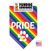 Fun Dog Bandana - PRIDE (rainbow colors) - One Size Fits Most for Med to Lg Dogs, rainbow pet scarf