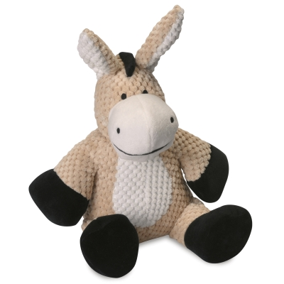 Quaker Pet Group GoDog Checkers 770964 Plush Grunter Donkey Dog Toy, Tan, Large
