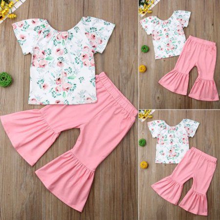 2Pcs Outfits Clothes Set Toddler Kids Clothing Baby Girls Cute Floral T-shirt Top+Flare Pleated Long Pants Trousers - Cute Children Outfits