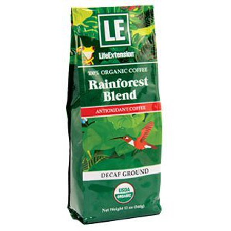 Rainforest Blend Decaf Ground Coffee Life Extension 12 oz Bag