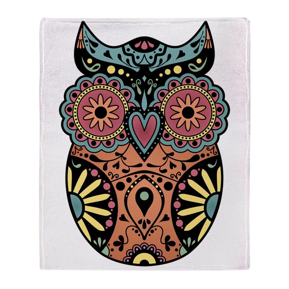 Cafepress Sugar Skull Owl Color Soft Fleece Throw