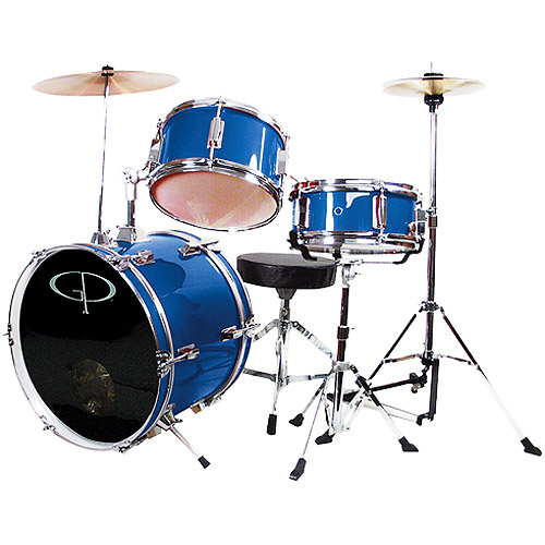 GP Percussion 3-Piece Complete Junior Drum Set, Royal Blue