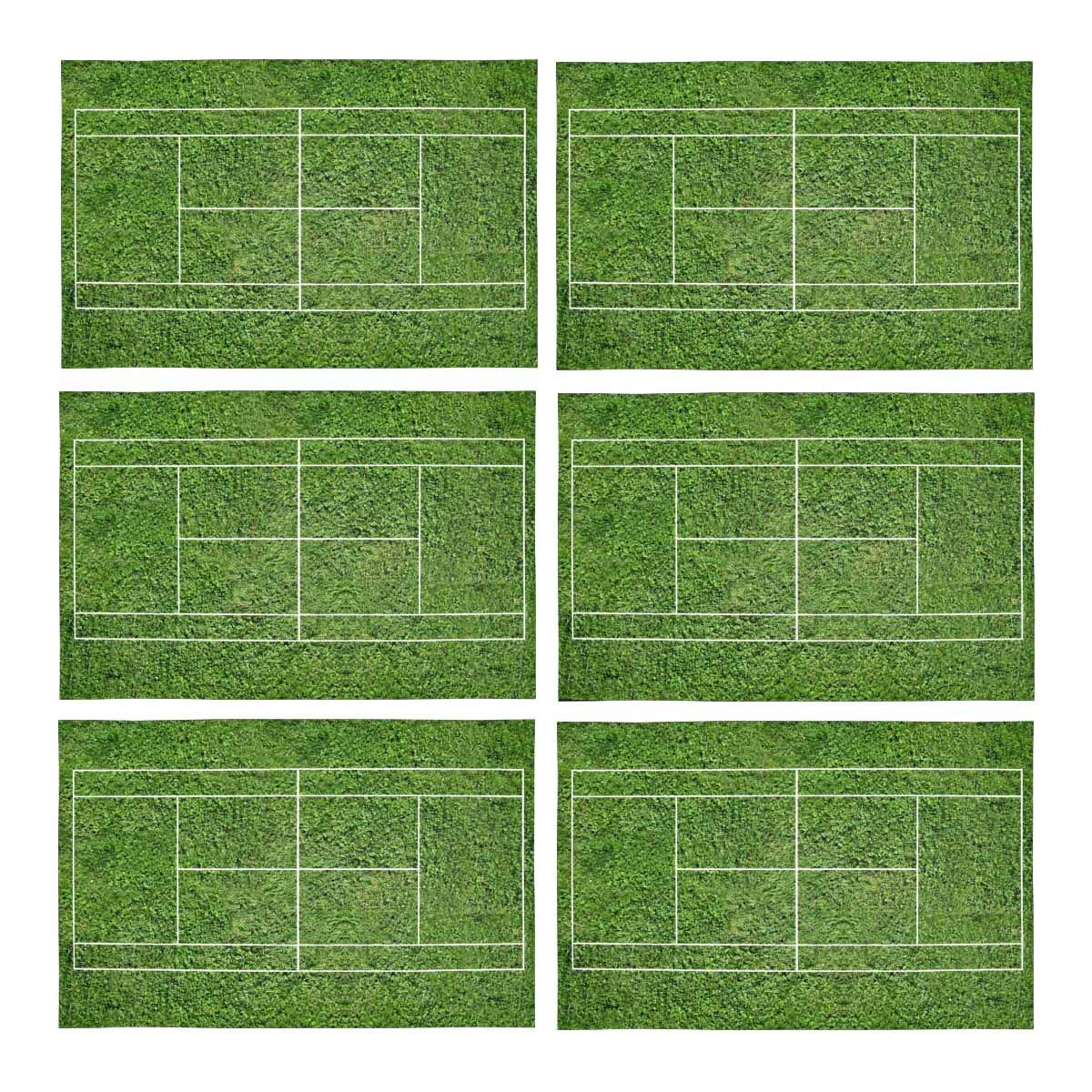 Mkhert Funny Green Tennis Court Placemats Table Mats For