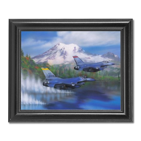 Air Force Two F-16 Fighter Jets Flying over Water Wall Picture Black Framed Fighter Jet Framed