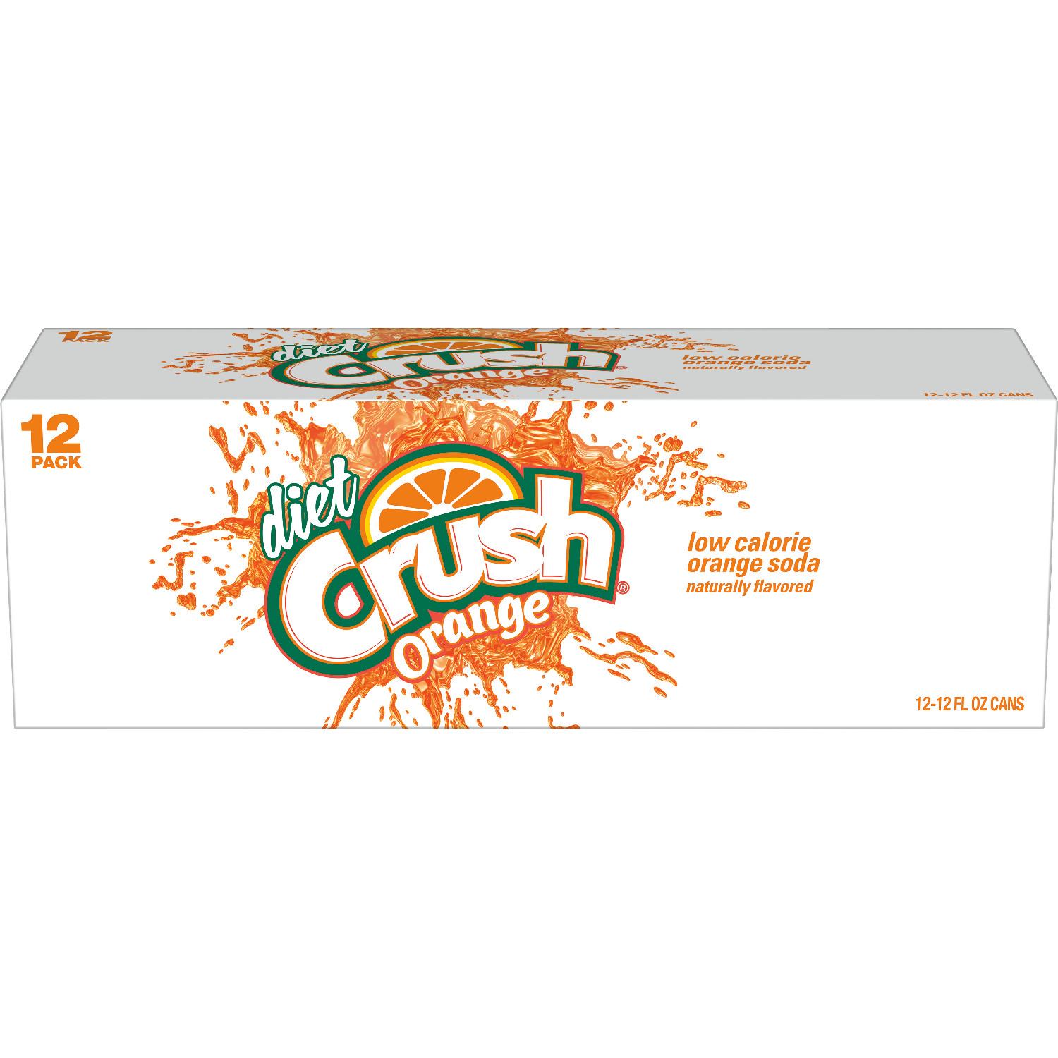 Diet Crush Orange Soda, 12 fl oz, 12 pack