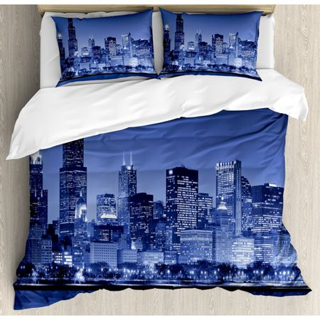 Ambesonne Usa Chicago City Skyline at Night with Tall Buildings Urban Modern Life American Town Scene Duvet Cover Set