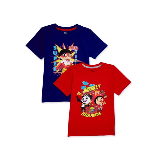 Ryan's World Boys Pirate and Super Graphic T-Shirts, 2-Pack, Sizes 4-8