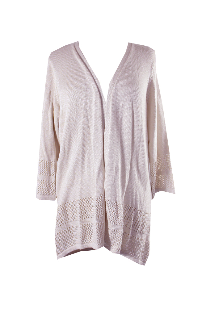 Jm Collection Pink Open-Front Knit-Pattern Cardigan XXL