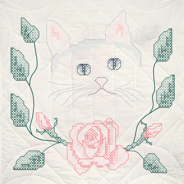 """Fairway Stamped Quilt Blocks 18""""X18"""" 6/Pkg-Cat W/ Roses"""