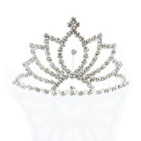 Kate Marie 'Beda' Rhinestone Crown Tiara Hair Pin in Silver](Silver Tiara)