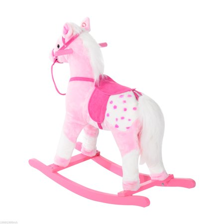 Rocking Plush Horse Pony Children Kid Ride on Toy w/ Realistic Sound (Light Pink) - image 6 of 7