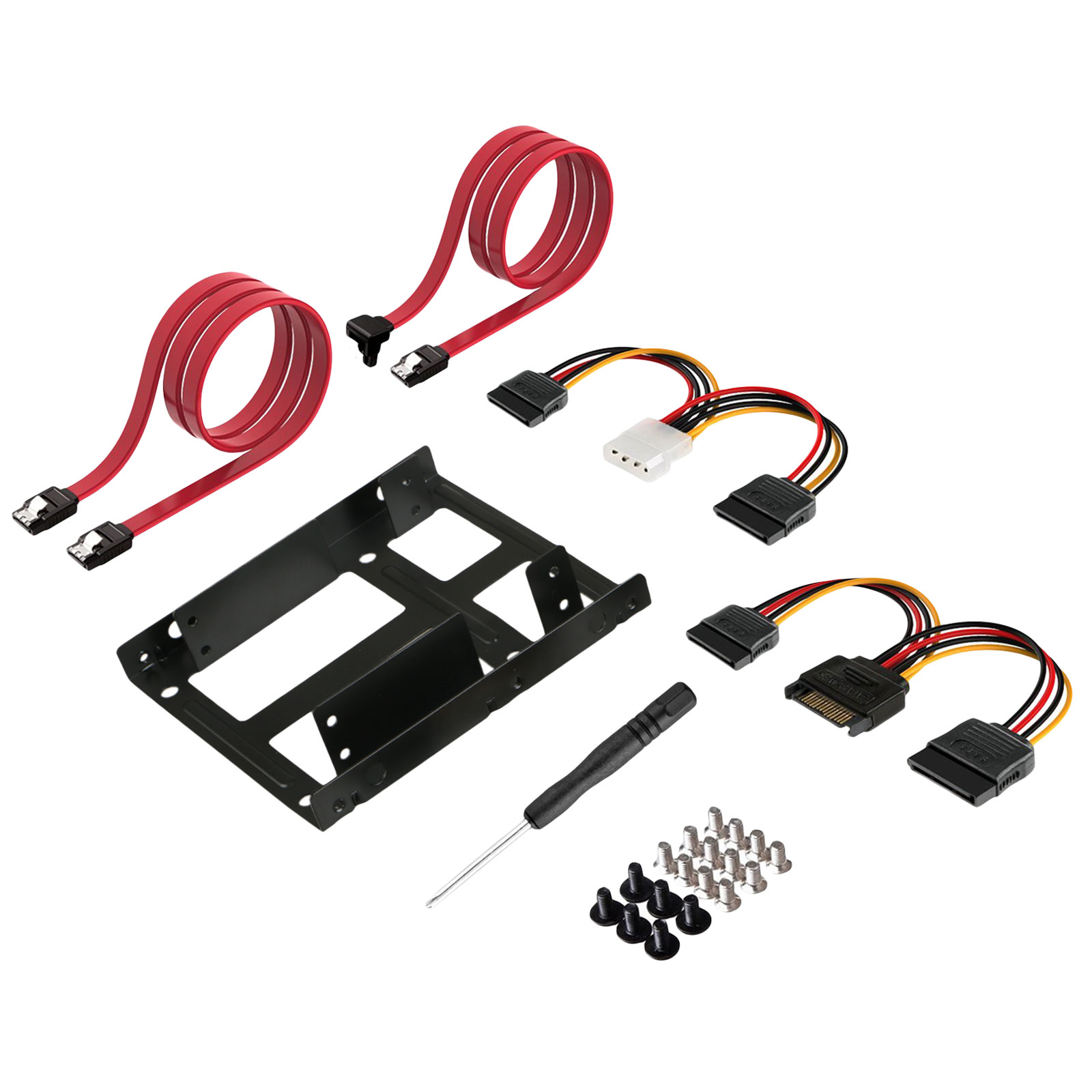 "EEEKit 2.5"" Hard Drives Dual SSD HDD to 3.5"" Mounting Bracket Kit Drive Bay Adapter with Internal Hard Disk Drive SATA Power Cables Compatible with SATA 3.0"