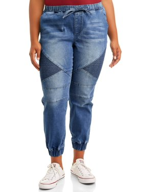 Almost Famous Juniors' Plus Size Moto Jogger Pants with Elastic Waistband
