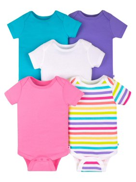 Short Sleeve Pure Organic True Brights Bodysuits, 5 Pk (Baby Girls)