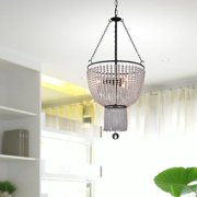 The Lighting Store Connie Antique Black 3-Light Chandelier with Crystal Beads
