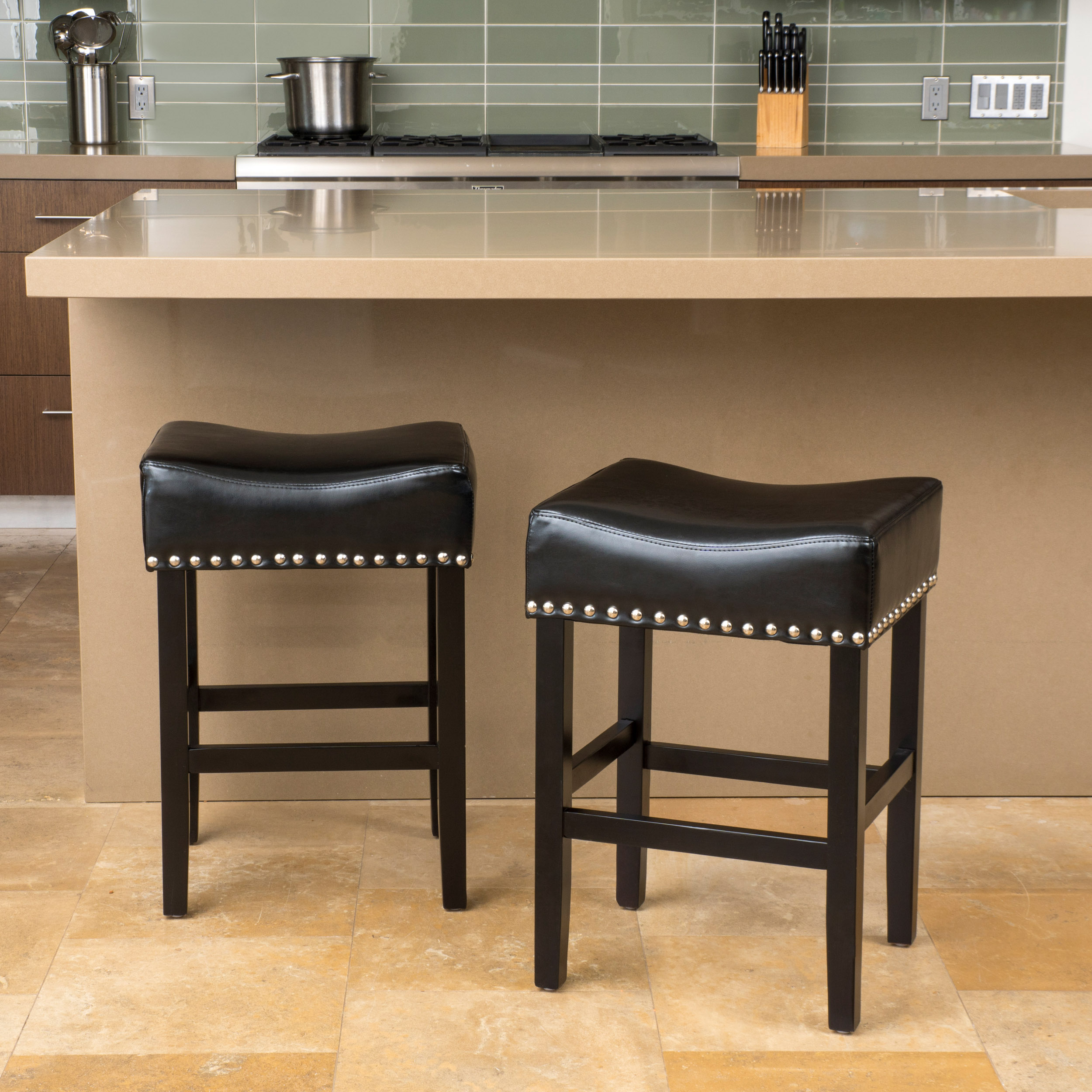 Angela Backless Black Leather Counter Stool (Set of 2)