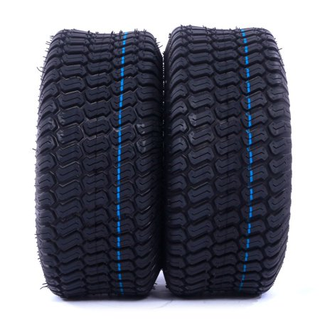 Pair of 15x6.00-6 Tubeless Turf Tires, 4 Ply Lawn Mower & Garden Tractor Tires ()