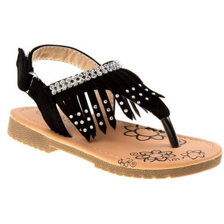 2db9853d20421a Petalia Little Girls Black Glitter Stud Fringe Detail Sandals - Walmart.com