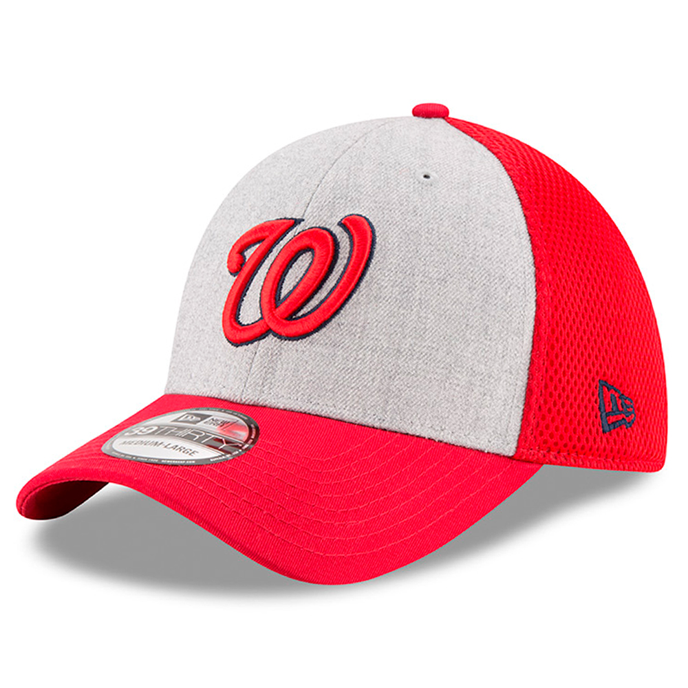 Washington Nationals New Era Neo 39THIRTY Flex Hat - Heathered Gray/Red