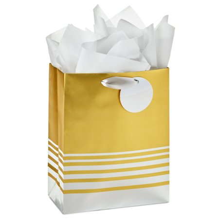 "Hallmark 9"" Medium Gift Bag with Tissue Paper (Silver and Gold Foil) for Christmas, Hanukkah, Holidays, Birthdays, Bridal Showers, Weddings, All Occasion"