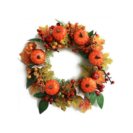 Topumt Halloween Artificial Pumpkin Maple Leaves Wreath Garland Front Door